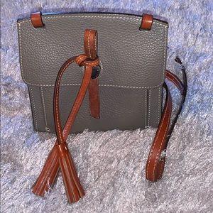 Dooney & Bourke Grey Pebbled Crossbody Bag Leather